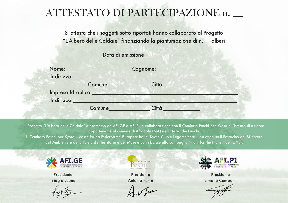 Attestato di partecipazione Albero Caldaie con firme