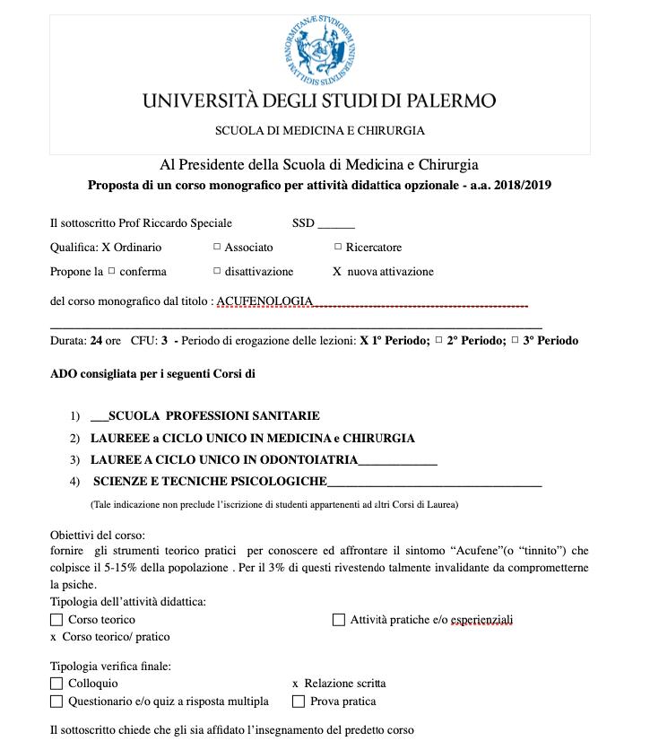 Attività didattica opzionale acufeni Palermo