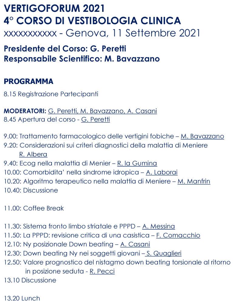 Corso Vestibologia Clinica - Genova