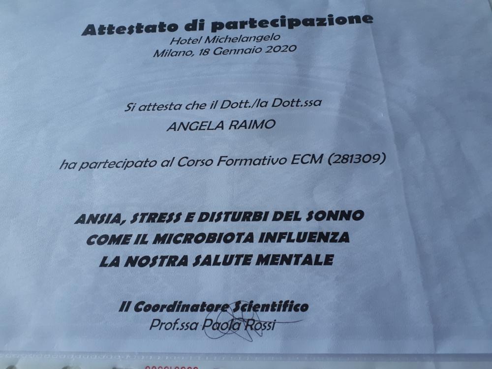 ATTESTATO DI PARTECIPAZIONE CORSO FORMATIVO ECM