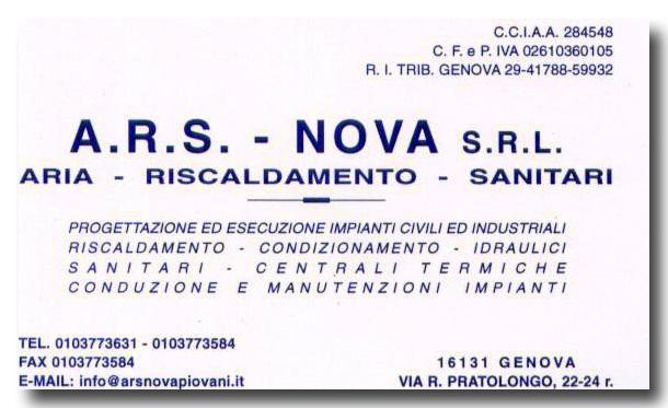 Costruzione Centrali Termiche a Genova. Contatta A.R.S. NOVA srl tel 010 3773631 - 010 3773584 cell 335 7566363promozione