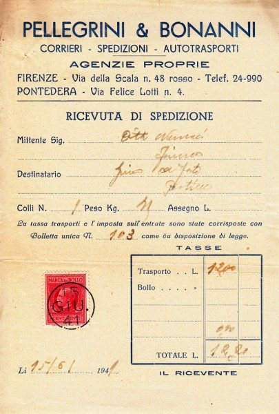 Bolletta storica 1941