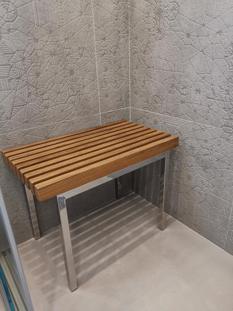 Panca, sedile x doccia, in legno teak e acciaio